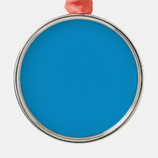 Rich Electric Blue Silver-Colored Round Decoration
