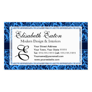 Rich Elegant Blue Floral William Morris Pattern Business Card Templates
