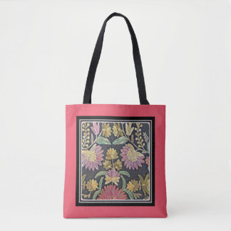 Rich embroidered flowers on light red background tote bag