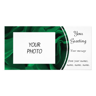 Rich emerald green roses floral photo customized photo card