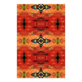 Rich Fall Orange Yellow Tribal Pattern Stationery Paper