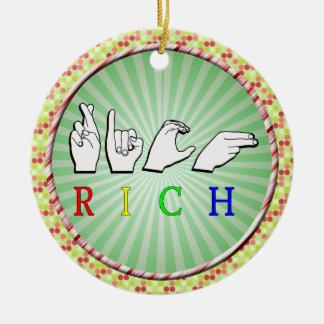 RICH FINGERSPELLED NAME SIGN ASL ROUND CERAMIC DECORATION