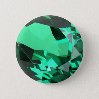 Rich green Emerald May birthstone 6 Cm Round Badge