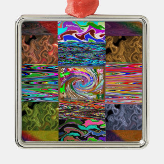 RICH Heavenly Dancing Wave Collage Pattern Square Metal Christmas Ornament