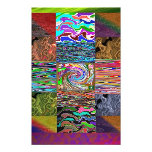 RICH Heavenly Dancing Wave Collage Pattern Personalized Stationery