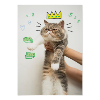 Rich King Cat Poster