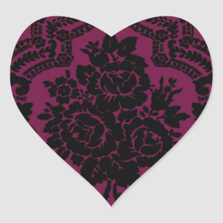 Rich maroon and black victorian pattern. heart sticker