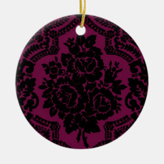 Rich maroon and black victorian pattern. round ceramic decoration