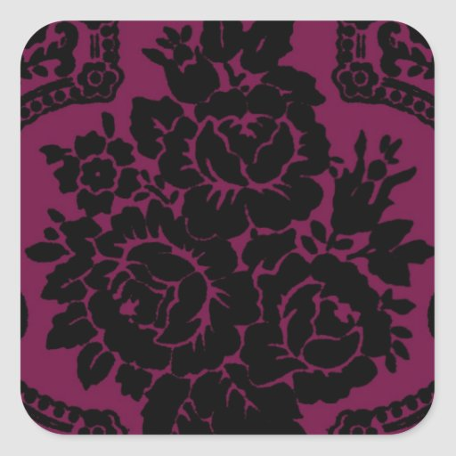 Rich maroon and black victorian pattern. stickers