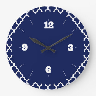 Rich Navy Blue and White Quatrefoil Pattern Clocks