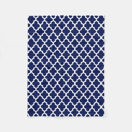 Rich Navy Blue and White Quatrefoil Pattern Fleece