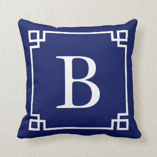 Rich Navy Greek Key Monogram Cushion