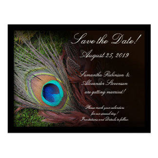 Rich Peacock Feather Green Moss Save the Date Card