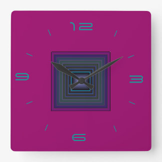 Rich Pink/ Pattern Centre  > Square Wall Clocks