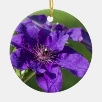 Rich Purple Clematis Blossom Macro Round Ceramic Decoration