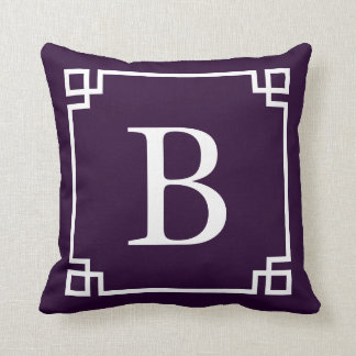 Rich Purple Greek Key Monogram Cushion