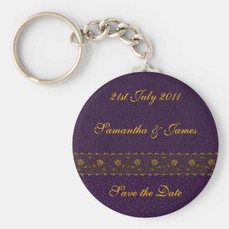 Rich Purple Wedding Basic Round Button Key Ring