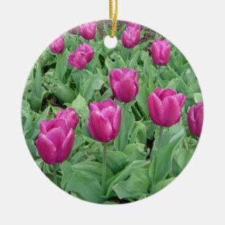 Rich PurpleTulips Round Ceramic Decoration