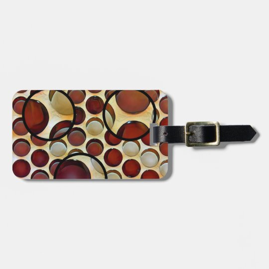 Rich red and brown retro design luggage tag. luggage tag