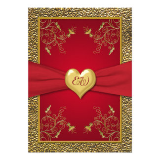 Rich Red and Gold Monogram Wedding Invitation