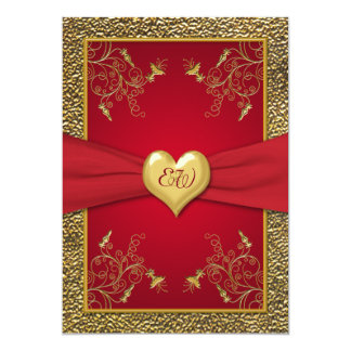 "Rich Red and Gold Monogram Wedding Invitation 5"" X 7"" Invitation Card"