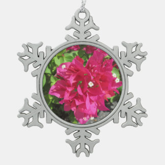 Rich Red Bougainvillea Pewter Snowflake Decoration