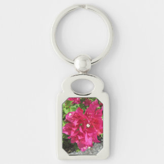 Rich Red Bougainvillea Silver-Colored Rectangle Key Ring