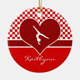 Rich Red Checkered Gymnastics with Monogram Round Ceramic Decoration