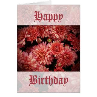 Rich Red Chrysanthemums Card
