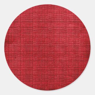 Rich Red Fabric Round Sticker