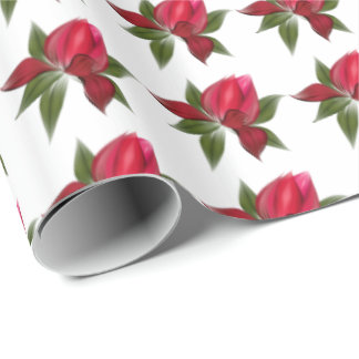 Rich Red Floral Wrapping Paper