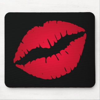Rich Red Lipstick Print Mouse Mat