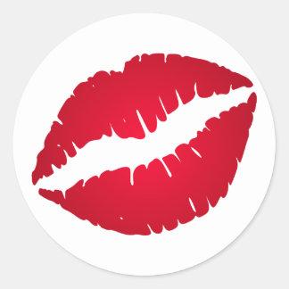 Rich Red Lipstick Round Sticker