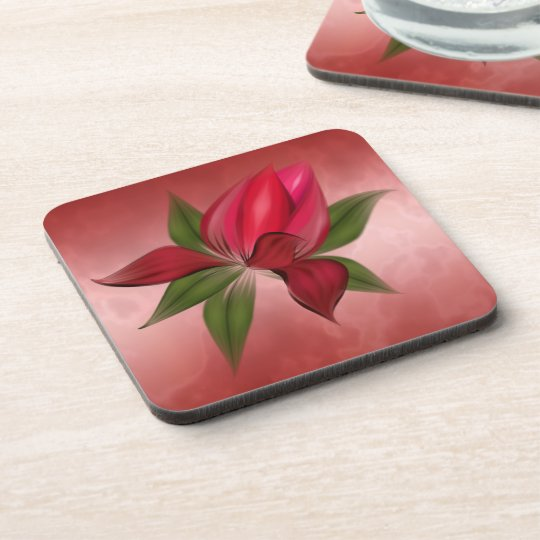Rich Red Marble with Red Flower Drink Coasters