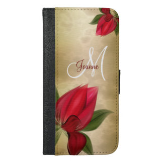 Rich Red Monogram on Gold iPhone 6/6s Plus Wallet Case