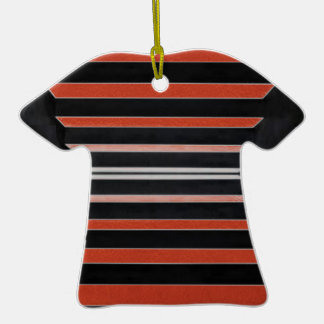 Rich Red n Black Horizontal Stripes Ornaments