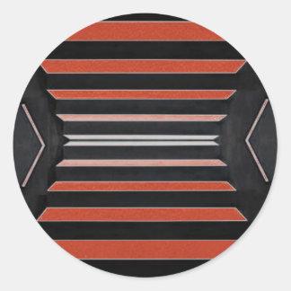 Rich Red n Black Horizontal Stripes Round Sticker