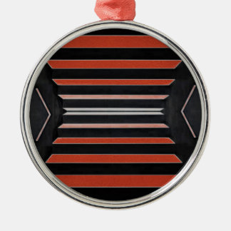 Rich Red n Black Horizontal Stripes Silver-Colored Round Decoration