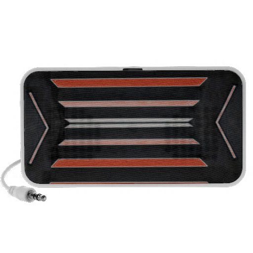 Rich Red n Black Horizontal Stripes Laptop Speakers