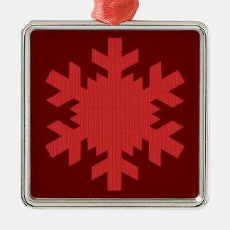 """Rich Red Snowflake""  [a] Silver-Colored Square Decoration"
