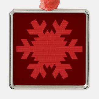 """Rich Red Snowflake""  [b] Silver-Colored Square Decoration"