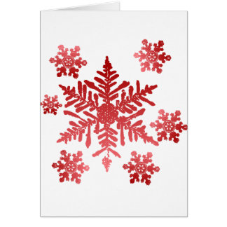Rich Red Snowflakes Christmas Greeting Card