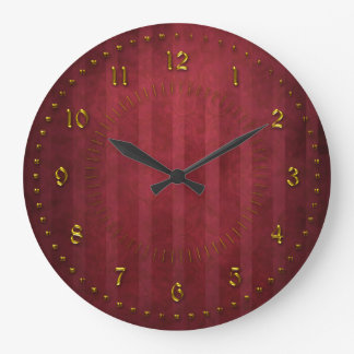 Rich Red Stripped Grunge Numbered Large Clock