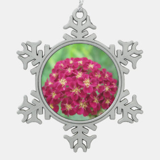 Rich Red Yarrow Flower Pewter Snowflake Decoration