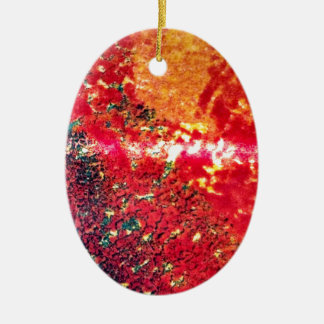 Rich reds abstract ceramic oval decoration