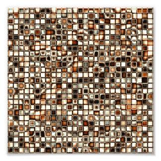 Rich Sepia Tones Textured Grid Pattern Photo Art
