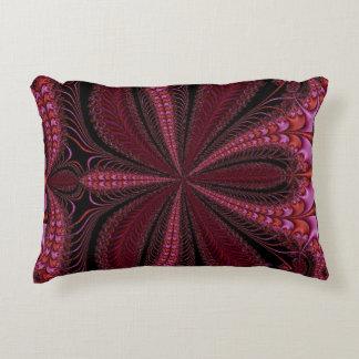 Rich Sparkly Reds Floral Fractal Accent Pillow
