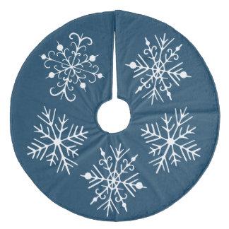 Rich Teal Snowflake Christmas Tree Skirt