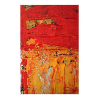 Rich Textured Red Yellow Abstract Customized Stationery