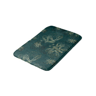 Rich turquoise vintage butterfly with halftones bath mat